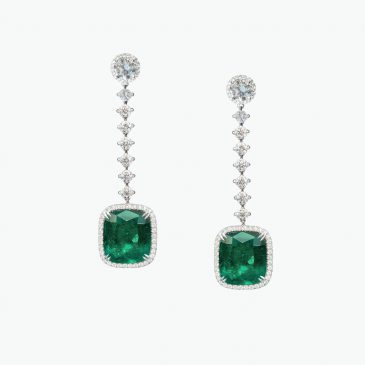 Natural Colombian emerald & diamond earrings