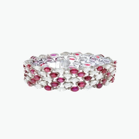 Natural Ruby and Diamond Bracelet